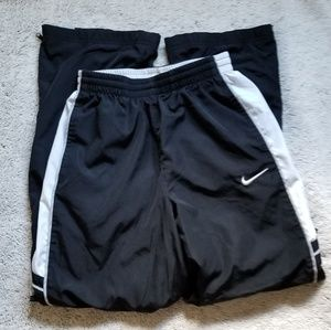 Boys Nike pants large black white gray zipper legs